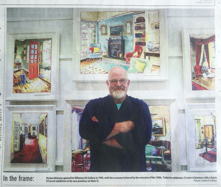 Today's Irish Examiner. Killarney Art Gallery's owner, Declan Mulvany, with some of the paintings in my show. Check out the show here ..  http://bit.ly/1SHh5Hq