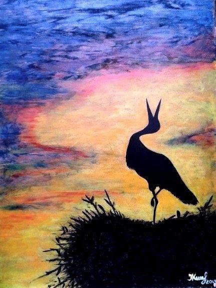 Stork. By Ieva Krivma. Acrylic. 30x40 cm. Pressed cardboard