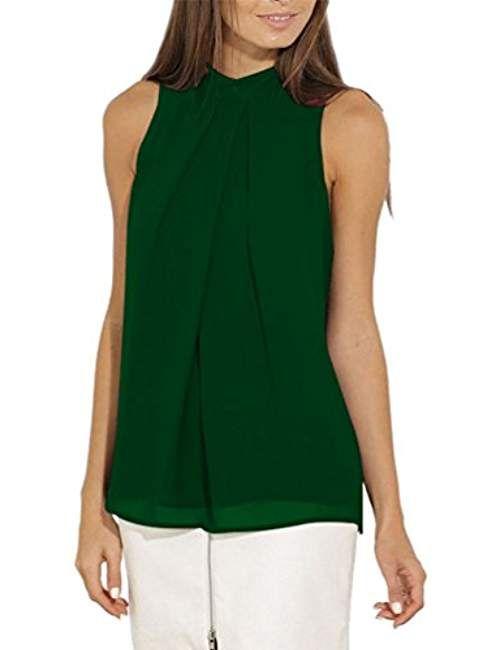 7699140ac95 Tank Top Femme Debardeur Débardeur Ample sans Manches Tops Chemisier T Shirt  sans Manche Chemise Mousseline de Soie Chemisiers Blouse Femme Flui…