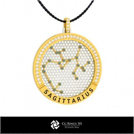 3D CAD Sagittarius Zodiac Constellation Pendant