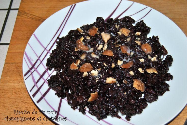 Risotto de riz noir, champignons et châtaignes