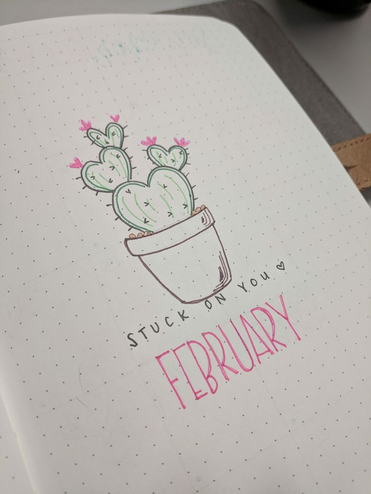 "Via Talisa Schuyler from bullet Journal Beginners FB group ""I saw the cutest heart cactus on Pinterest and had to make it my theme for February"""