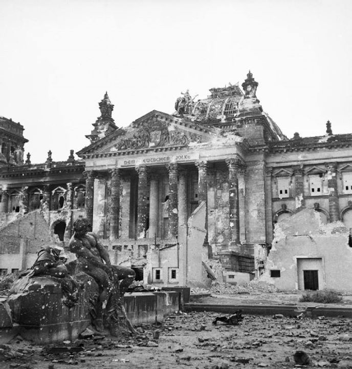 The German Reichstag after its capture by the Allies 3 June 1945
