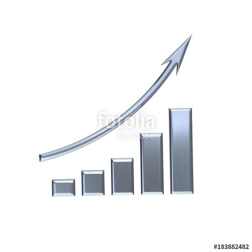 """""""Business Growth Bar Silver Graph Curve. 3D Render Illustration"""" Stock photo and royalty-free images on Fotolia.com - Pic 183882482"""