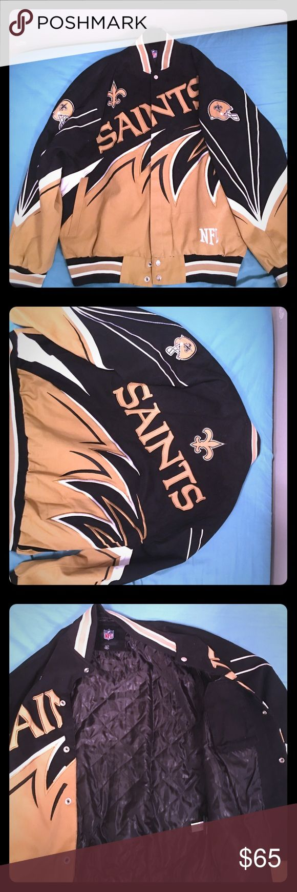 NFL New Orleans Saints Jacket Black/Gold/White New Orleans Saints Button Up Jacket. Jackets & Coats