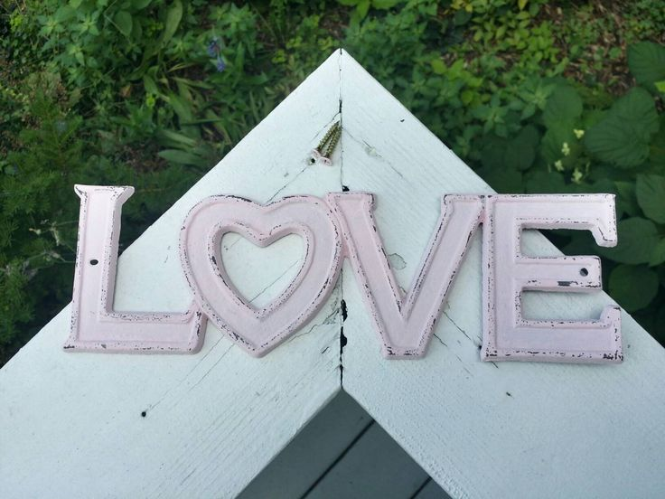 Light Pink Cast Iron Wall Decor, Love Sign Hand Painted/Distressed, And Comes With Two Painted Screws! // Love Decor // Pink Love Sign // by BrittsDiverseStyle on Etsy https://www.etsy.com/listing/476082679/light-pink-cast-iron-wall-decor-love