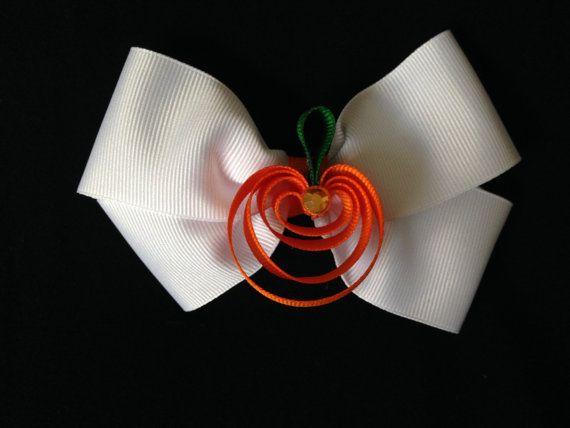 Pumpkin in a White Bow Hair Clip Sculpture Hair by ArgenCrafts