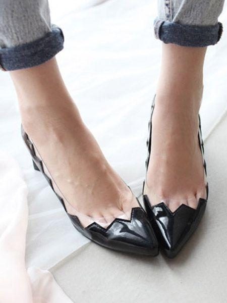 Pointed Block Heeled Shoe//