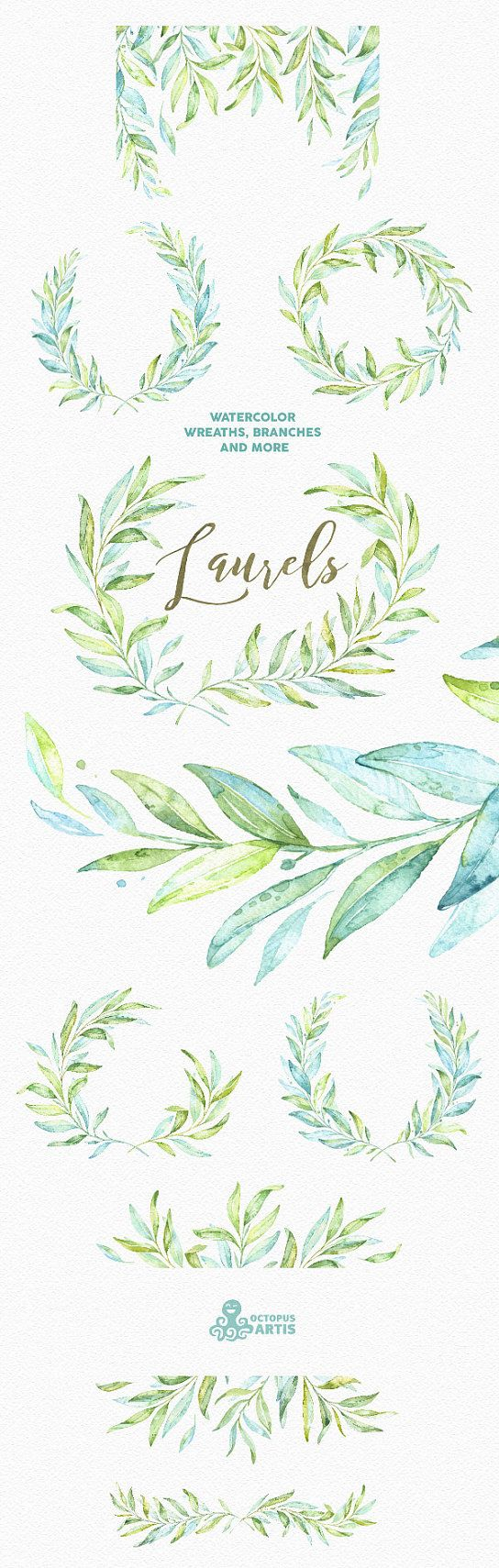 Laurels. Watercolor wreaths, branches. Leaves, frames, soft green, wedding…