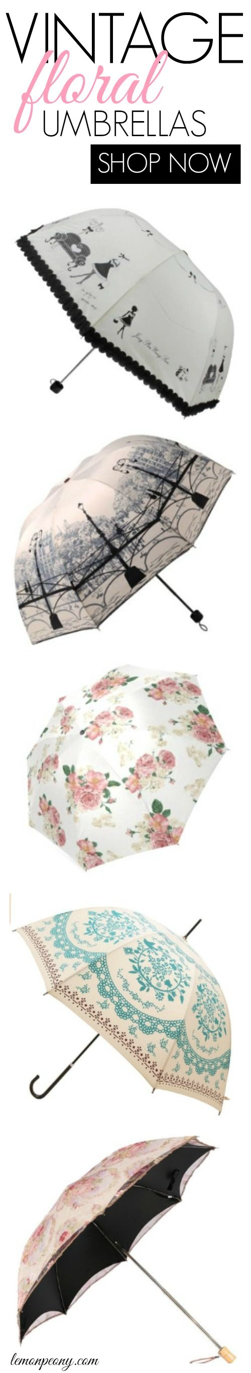 Vintage Floral Umbrellas! These are SO cute! Where to get the best deals and cheap umbrellas!