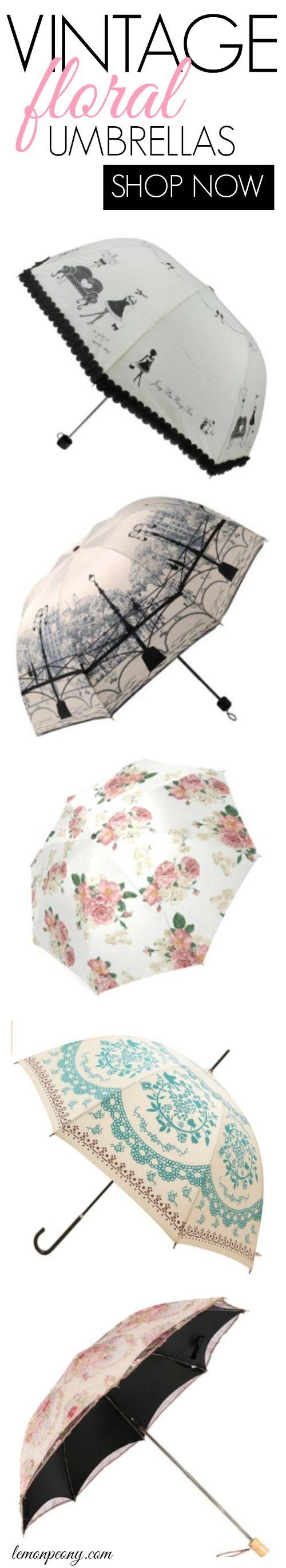 Vintage Floral Umbrellas! Cute and fun umbrellas for rainy days!