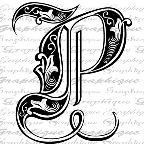 LETTER Initial P Monogram Old ENGRAVING Style Type by Graphique