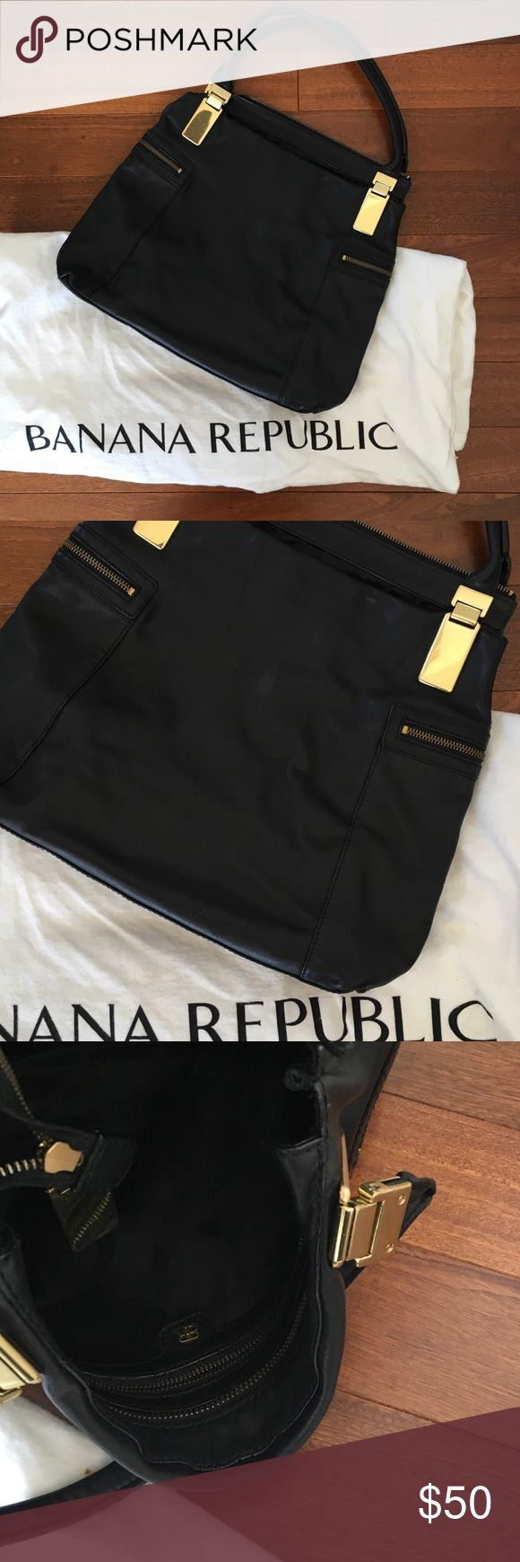 Banana republic black Satchel Gently used authentic black leather purse. Clean and no damage. Can fit a lot and very sturdy! Banana Republic Bags Satchels