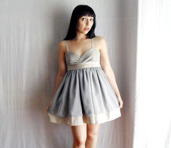 Light grey party dress in cotton/silk  babydoll by AliceCloset, €137.00