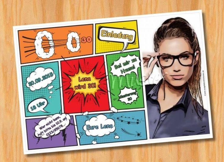 Originelle Einladungskarten Zum Geburtstag COMIC   Einladungskarten ☺  Einladungen ☺ Einladung ☺ Geburtstagseinladung ☺ Geburtstag ☺ Fotokarten ...