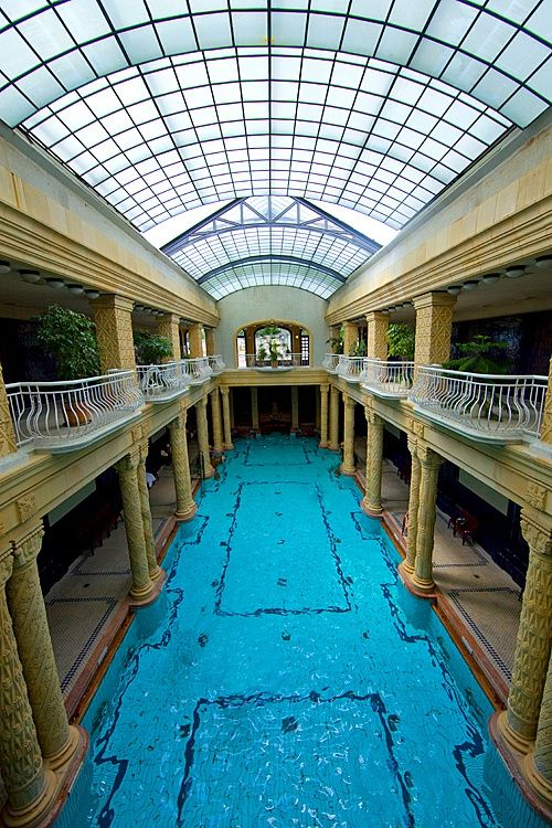 The pool in the famous Gellert Hotel, Budapest, Hungary
