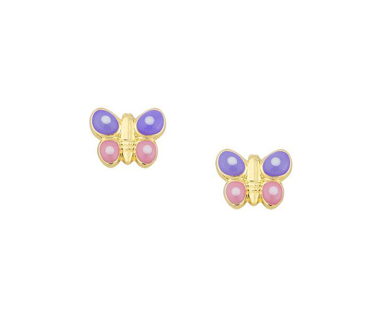 gold earrings in 14K butterfly with smalto!!
