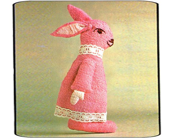 PDF Vintage 1960s Kitsch Baby 'Pink Bunny' Rabbit Toy Sewing Pattern, Teddy, Rag Doll, Groovy, Upcycled, Children, Shabby Chic, Cutex