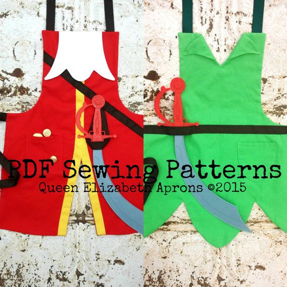 Captain HOOK and Peter PAN Pdf Sewing PATTERN Set. Disney Junior Jr inspired Child Costume Aprons Dress up Birthday Party Play Boys size 2-8
