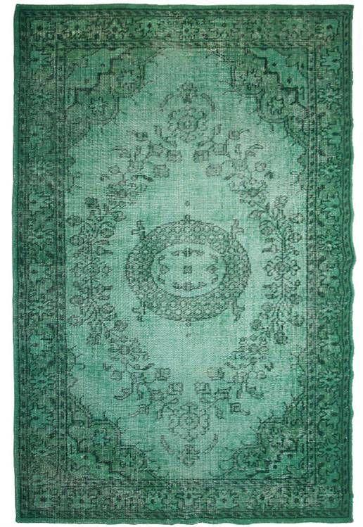 HK-living Vloerkleed groen wol oververfd 180x280cm - wonenmetlef.nl