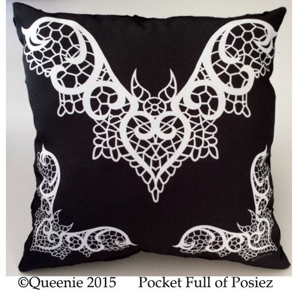Lace Bat Design White Large Throw Pillow Soft Black Dot Pocket Full of Posiez by Posiez on Etsy