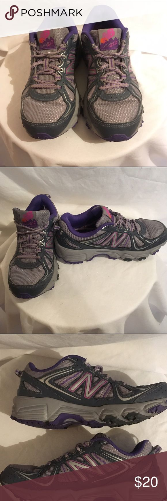 New Balance All Terrain Grey All Terrain 412 New Balance. They have been gently loved. One of the straps holding the shoe strings broke off (pic 5) It doesn't affect the shoes at all. Price is reflective. New Balance Shoes Athletic Shoes