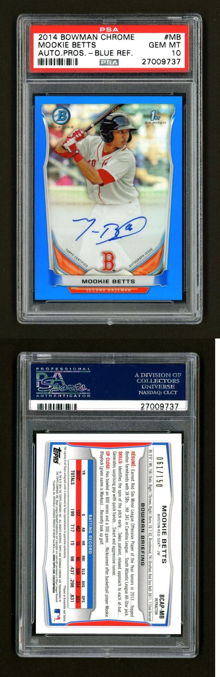 Sports Memorabilia: 2014 Bowman Chrome Mookie Betts Blue Refractor Rookie Rc Auto 61 150 Psa 10 -> BUY IT NOW ONLY: $1750 on eBay!