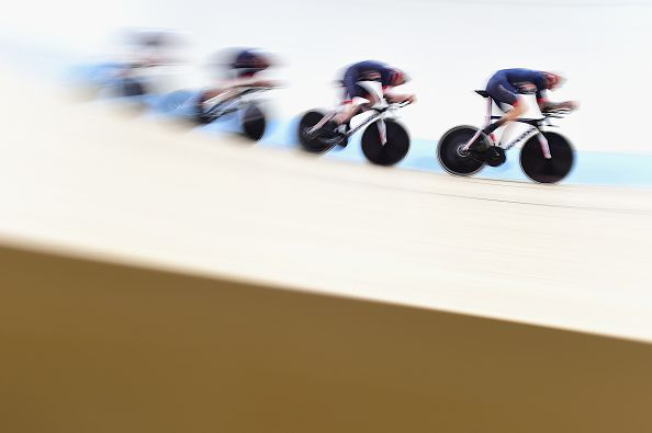 Check out the speed of these guys as they claim gold in the men's team pursuit at Rio 2016 Steven Burke, Ed Clancy, Owain Doull and Bradley Wiggins