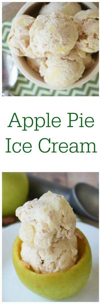 This apple pie ice cream on www.cookingwithruthie.com is the sweet, cinnamon flavor of apple pie in an ice cream. It's apple pie a la mode in one sweet bite!