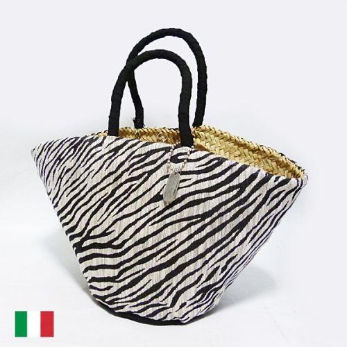 イタリア製★ゼブラ柄カゴバッグ