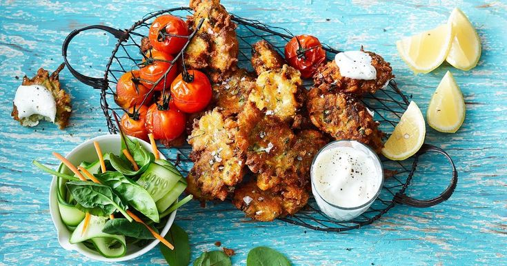 These crunchy gluten-free fritters are perfect for any time of the day! Serve with vine-ripened baked tomatoes and tangy Greek yogurt.