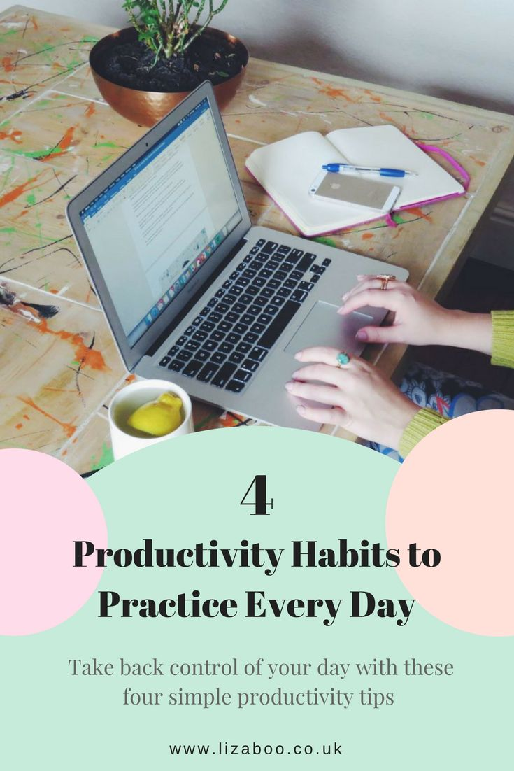 Productivity Habits to Practice Every Day.  Take back control of your day with these four simple tips.