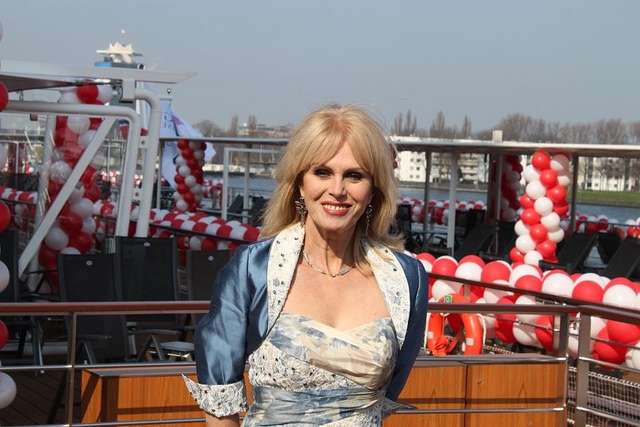 Joanna Lumley onboard Viking Odin for the christening ceremony