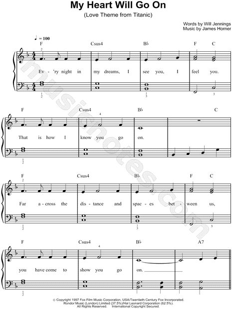 Print and download sheet music for My Heart Will Go On by Celine Dion. Sheet music arranged for Easy Piano in F Major (transposable).