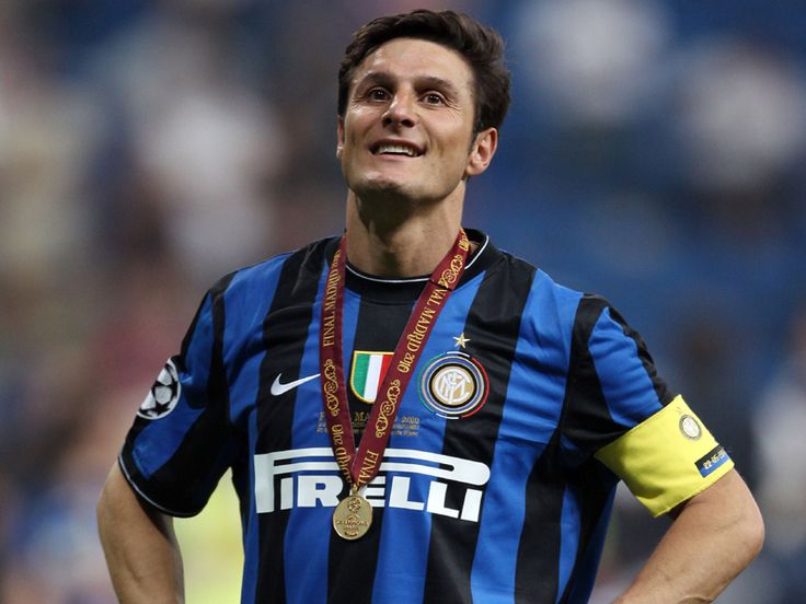 Javier Zanetti after leading Inter Milan to win UEFA Champions League Final at Santiago Bernabeu, May 2010