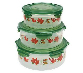 Lock Amp Lock 3 Piece Canister Bowl Storage Set W Holiday