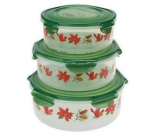 Lock Amp Lock 3 Piece Canister Bowl Storage Set W Holiday Print Kitchen Items