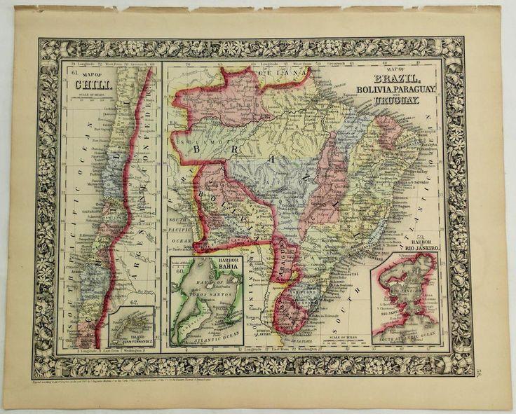1860 Mitchell's Huge Hand Tinted Map BRAZIL Bolivia PARAGUAY Uruguay & CHILI