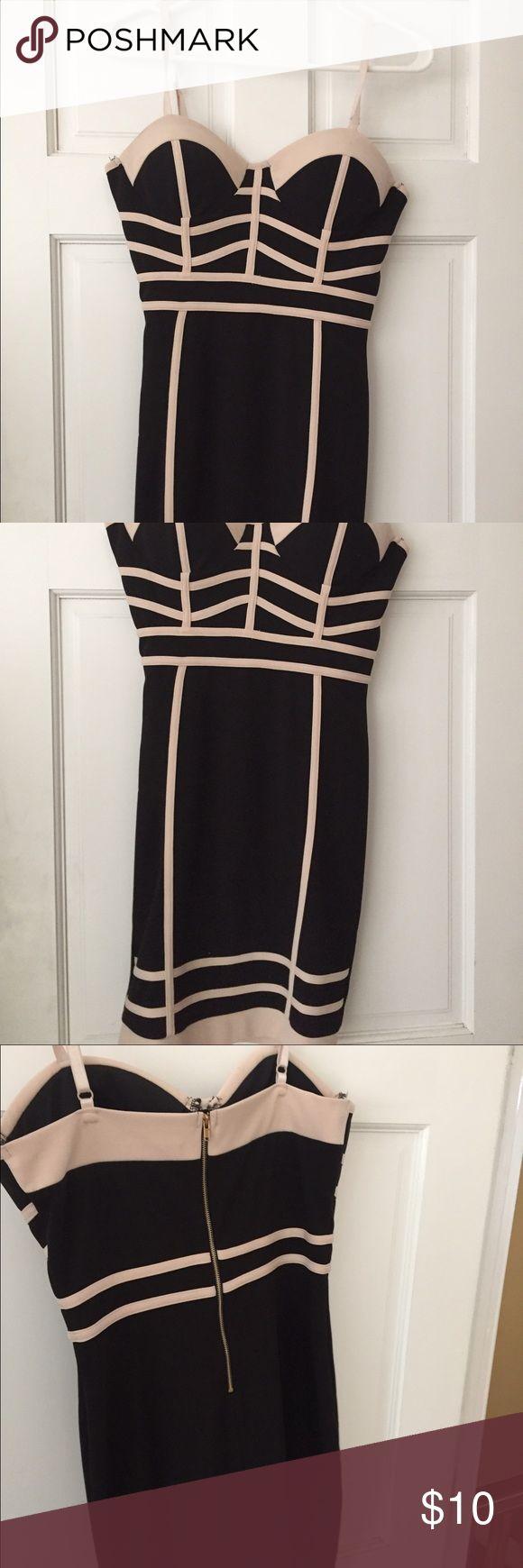 Black and beige mini dress Women's size m. Padded bra mini dress tight fit only worn once Dresses Mini