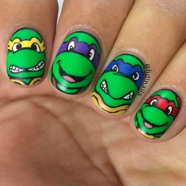 Teenage Mutant Ninja Turtles Nail Art by @hdinails; see the full nail art gallery at…