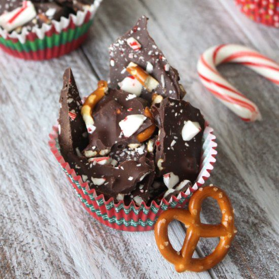 The ultimate sweet and salty treat: dark chocolate topped with pretzel pieces and crushed candy cane. Ad addictive holiday treat!