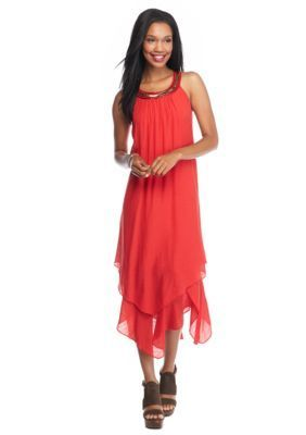 Luxology Beaded Neck Hankie Hem Halter Dress
