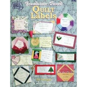 Foundation pieced quilt labels