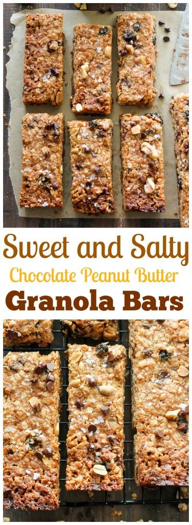 Sweet and Salty Chocolate Peanut Butter Granola Bars - omg so delicious, easy, and healthy, too!