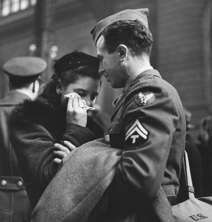 An emotional farewell at New York's Penn Station, April 1943.