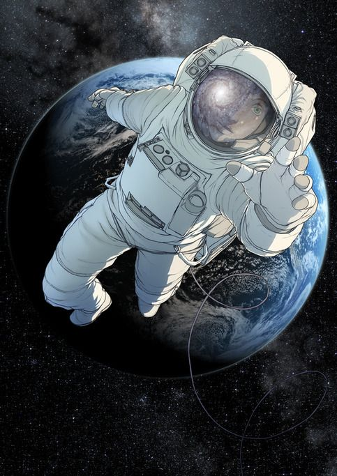 An A3 print of an astronaut against the backdrop of earth, on heavyweight matt…
