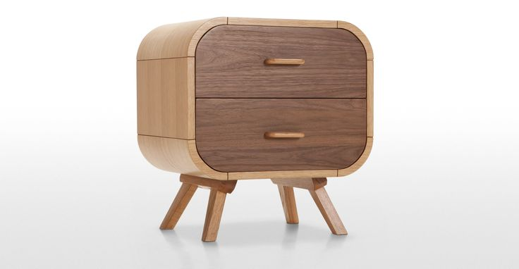 Fonteyn Bedside Table in oak and walnut | made.com