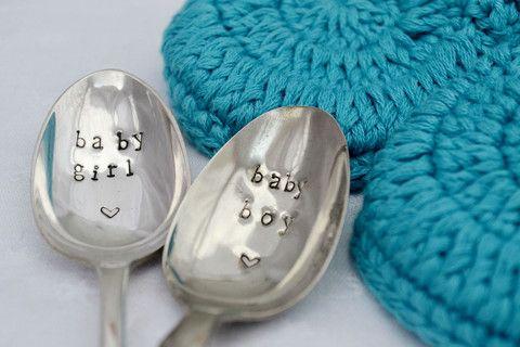 Pretty Little Silver - 'Baby Boy/Girl' Personalised Hand Stamped Teaspoon £8 www.prettylittlesilver.co.uk