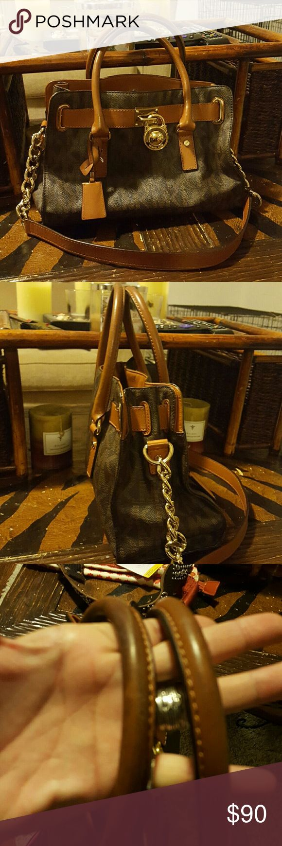 AUTHENTIC MICHEAL KORS HANDBAG IN EUC Authentic dark and light brown satchel with long strap 14w, 14t, 5d! Beautiful bag Bags Satchels