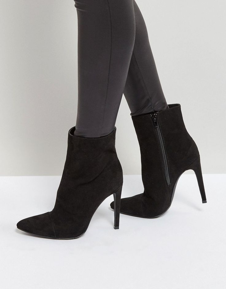 London Rebel Stiletto Heel Pointed Ankle Boot with Silver Zip - Black